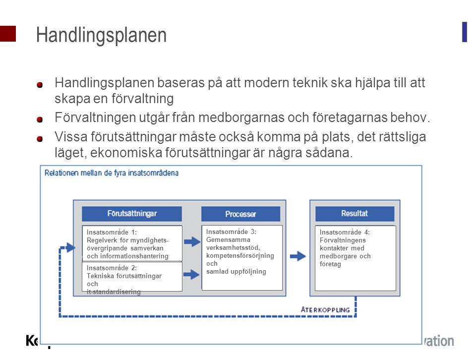 Handlingsplanen Handlingsplanen baseras på att modern teknik ska hjälpa till att skapa en förvaltning Förvaltningen utgår från medborgarnas och företa