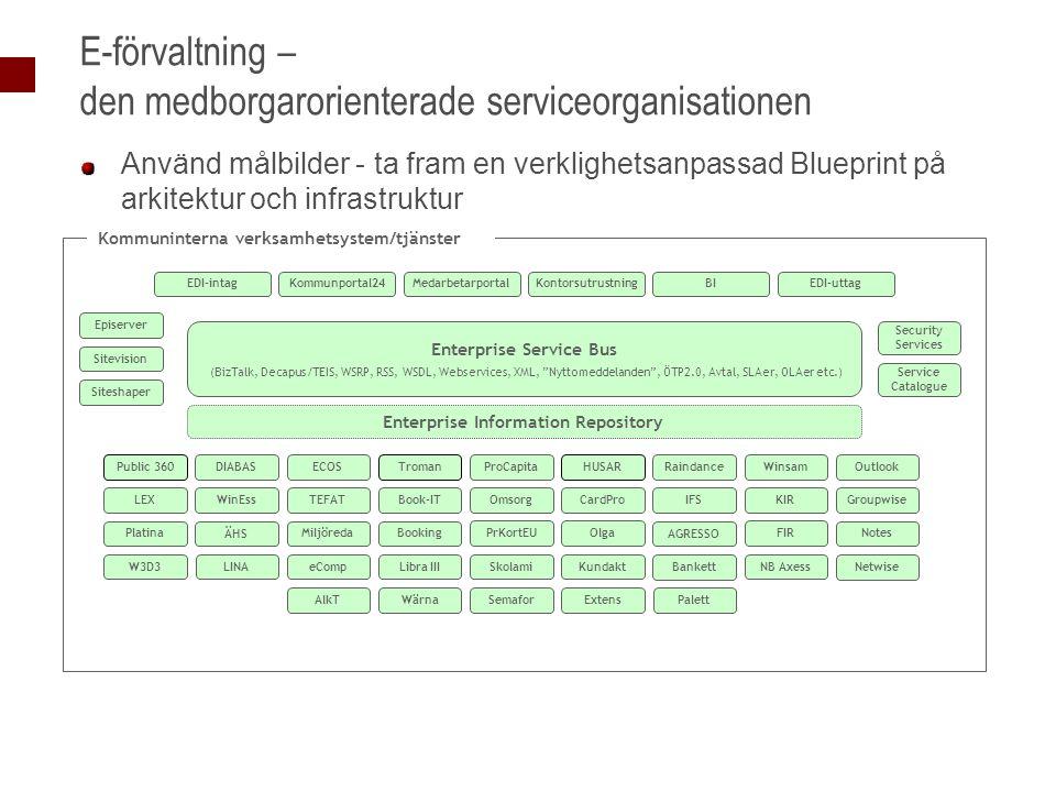 E-förvaltning – den medborgarorienterade serviceorganisationen Använd målbilder - ta fram en verklighetsanpassad Blueprint på arkitektur och infrastru