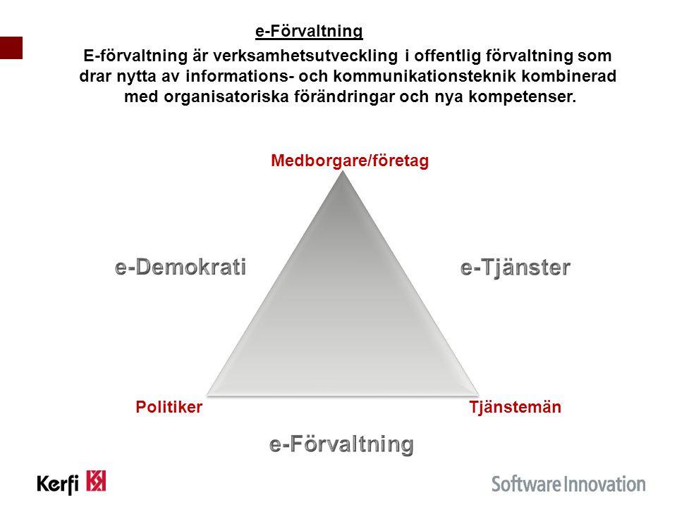 e-Förvaltning E-förvaltning är verksamhetsutveckling i offentlig förvaltning som drar nytta av informations- och kommunikationsteknik kombinerad med organisatoriska förändringar och nya kompetenser.