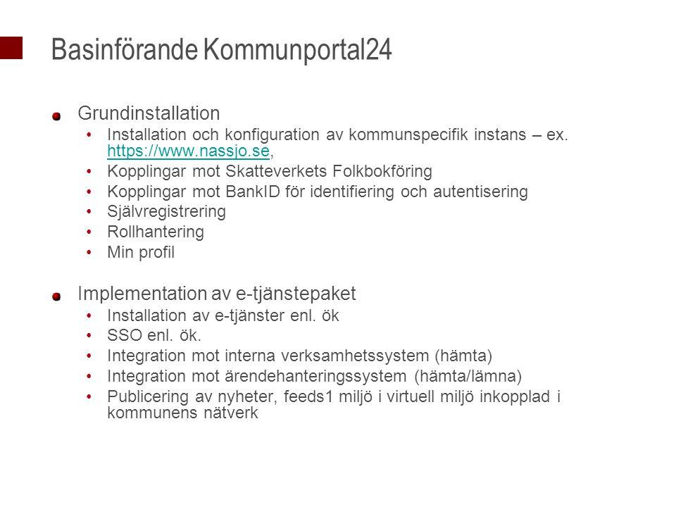 Basinförande Kommunportal24 Grundinstallation Installation och konfiguration av kommunspecifik instans – ex. https://www.nassjo.se, https://www.nassjo