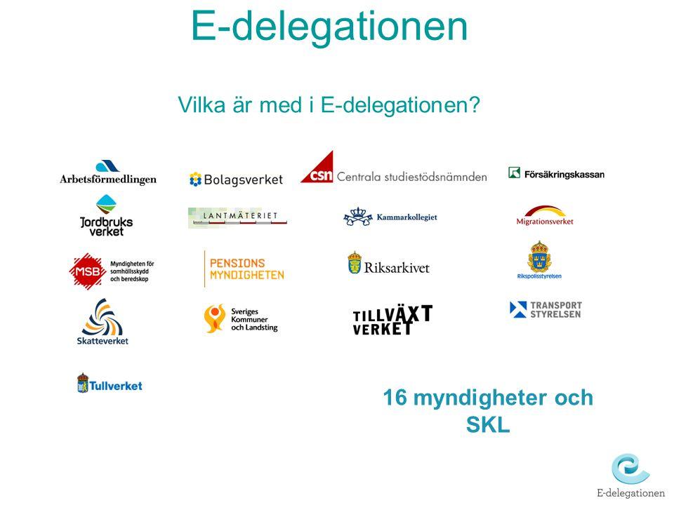 Vilka är med i E-delegationen? 16 myndigheter och SKL E-delegationen