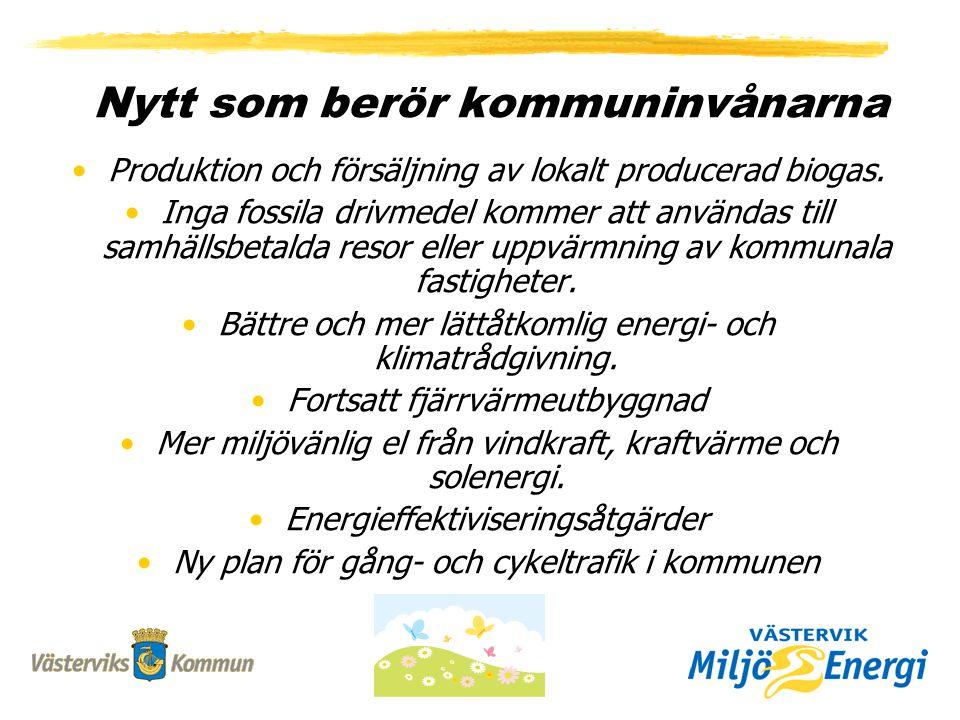 Nytt som berör kommuninvånarna Produktion och försäljning av lokalt producerad biogas.