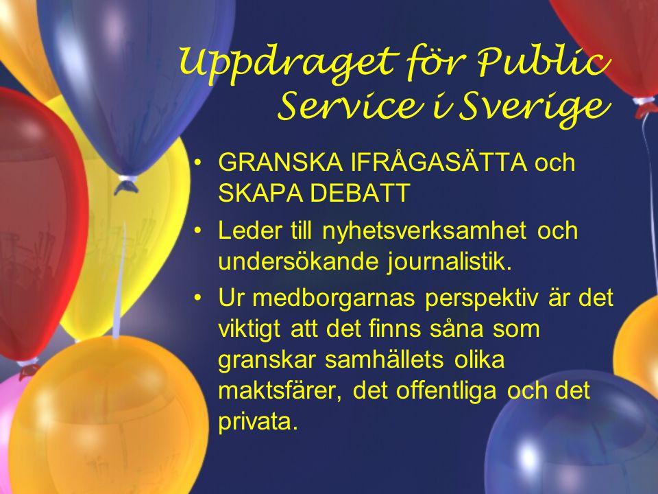 Uppdraget för Public Service i Sverige GRANSKA IFRÅGASÄTTA och SKAPA DEBATT Leder till nyhetsverksamhet och undersökande journalistik.