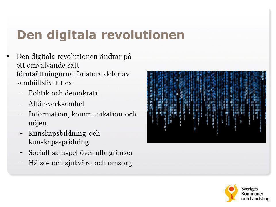 Den digitala revolutionen  Den digitala revolutionen ändrar på ett omvälvande sätt förutsättningarna för stora delar av samhällslivet t.ex. - Politik