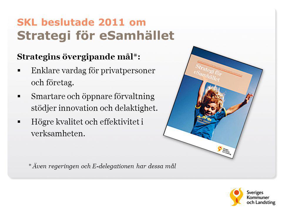 SKL beslutade 2011 om Strategi för eSamhället Strategins övergipande mål*:  Enklare vardag för privatpersoner och företag.  Smartare och öppnare för