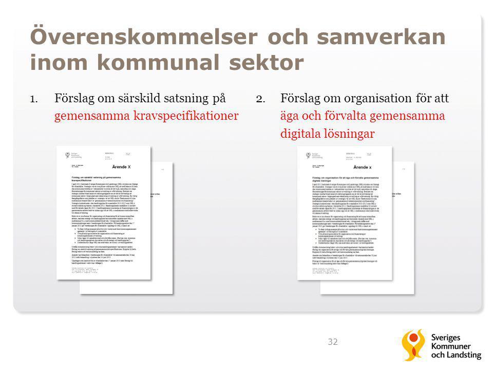 Överenskommelser och samverkan inom kommunal sektor 1.Förslag om särskild satsning på gemensamma kravspecifikationer 2. Förslag om organisation för at