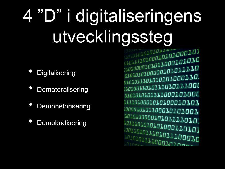"""4 """"D"""" i digitaliseringens utvecklingssteg Digitalisering Demateralisering Demonetarisering Demokratisering"""