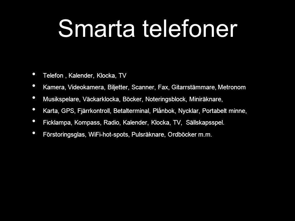 Smarta telefoner Telefon, Kalender, Klocka, TV Kamera, Videokamera, Biljetter, Scanner, Fax, Gitarrstämmare, Metronom Musikspelare, Väckarklocka, Böck