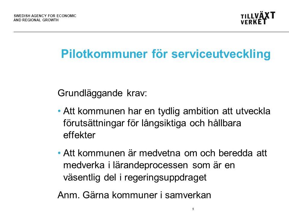 SWEDISH AGENCY FOR ECONOMIC AND REGIONAL GROWTH Pilotkommuner för serviceutveckling Mål: Nya samordnade servicelösningar i samverkan med privat och ideell sektor Uppdraget ska bidra till att frågan om tillgänglighet till kommersiell och offentlig service i serviceglesa områden, i gles- och landsbygder, blir en naturlig del i planeringsprocessen i kommunerna 6