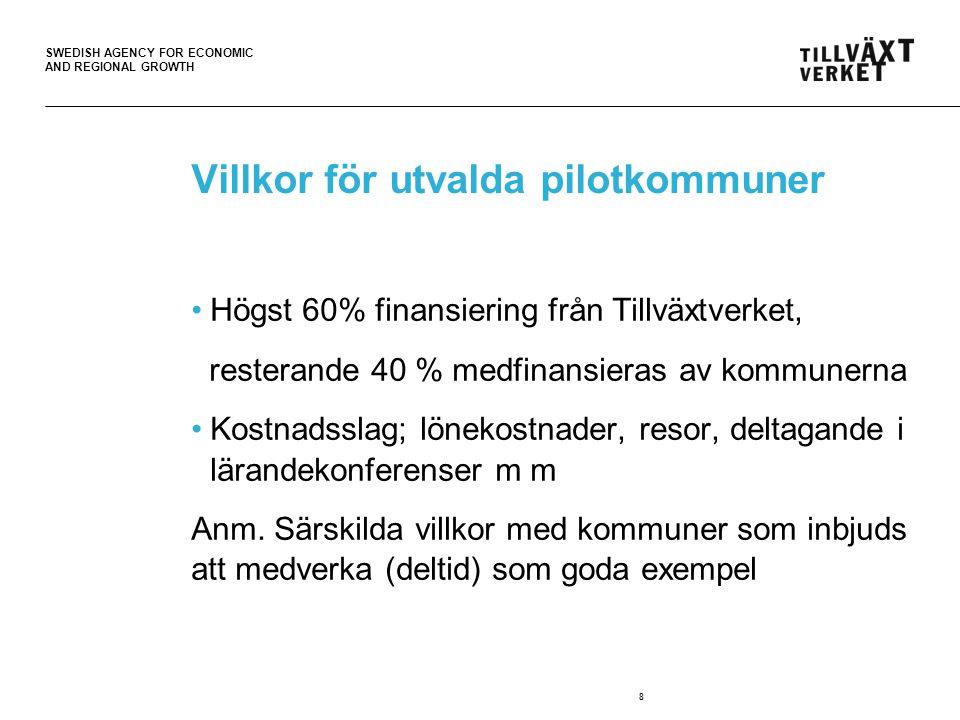 SWEDISH AGENCY FOR ECONOMIC AND REGIONAL GROWTH Villkor för utvalda pilotkommuner Högst 60% finansiering från Tillväxtverket, resterande 40 % medfinansieras av kommunerna Kostnadsslag; lönekostnader, resor, deltagande i lärandekonferenser m m Anm.