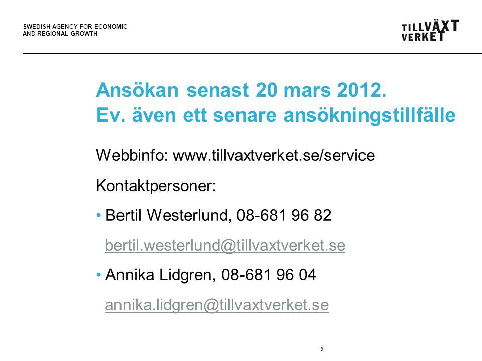 SWEDISH AGENCY FOR ECONOMIC AND REGIONAL GROWTH Tänkvärt Samhällsutvecklingen gör att gårdagens servicelösningar inte alltid passar morgondagens behov Annie Lööf (c) Näringsminister 10