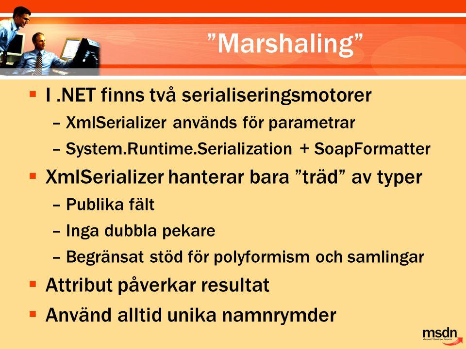 Marshaling  I.NET finns två serialiseringsmotorer –XmlSerializer används för parametrar –System.Runtime.Serialization + SoapFormatter  XmlSerializer hanterar bara träd av typer –Publika fält –Inga dubbla pekare –Begränsat stöd för polyformism och samlingar  Attribut påverkar resultat  Använd alltid unika namnrymder