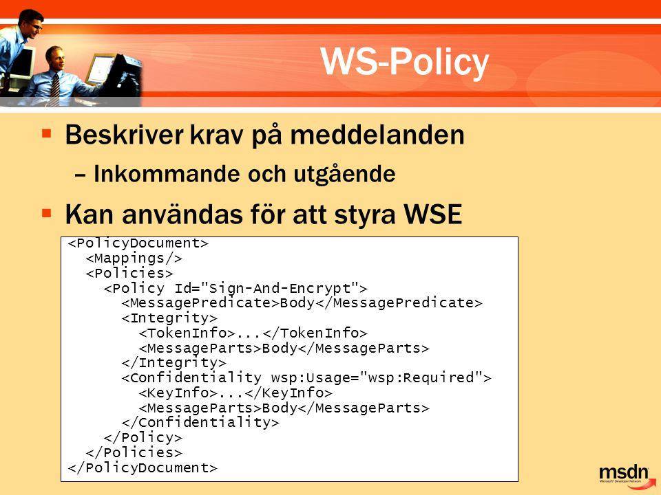 WS-Policy  Beskriver krav på meddelanden –Inkommande och utgående  Kan användas för att styra WSE Body...