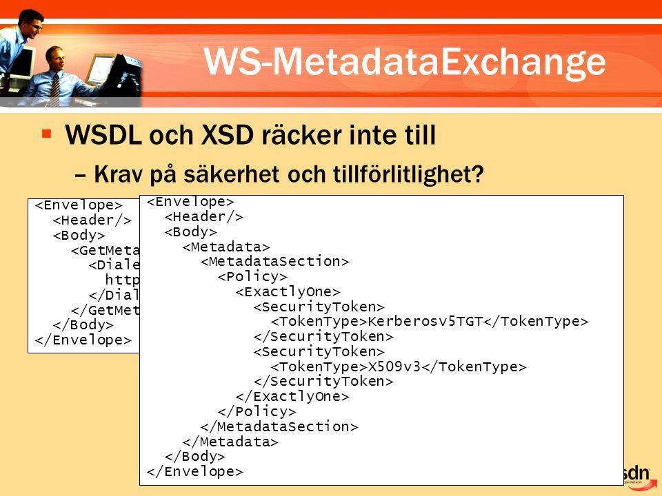 WS-MetadataExchange http://schemas.xmlsoap.org/ws/2004/09/policy  WSDL och XSD räcker inte till –Krav på säkerhet och tillförlitlighet.