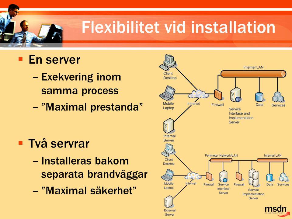 Flexibilitet vid installation  En server –Exekvering inom samma process – Maximal prestanda  Två servrar –Installeras bakom separata brandväggar – Maximal säkerhet