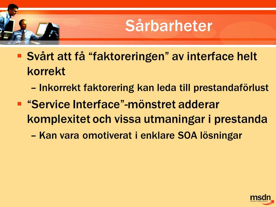Sårbarheter  Svårt att få faktoreringen av interface helt korrekt –Inkorrekt faktorering kan leda till prestandaförlust  Service Interface -mönstret adderar komplexitet och vissa utmaningar i prestanda –Kan vara omotiverat i enklare SOA lösningar