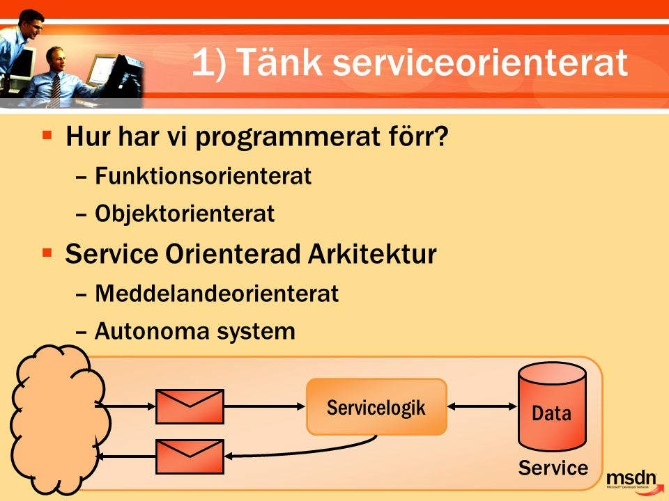 4) Implementera gränssnitt  WSDL.EXE /server –Ärv från genererad basklass  WebMethod erbjuder en RPC-modell  Arv från WebService är inte ett krav – Ger snabb åtkomst åt HttpContext.Current –Kan ärva från andra klasser istället  Se upp för tighta kopplingar –Fokusera på kontrakten  Använda [WebService] attributet –Sätt en korrekt namnrymd