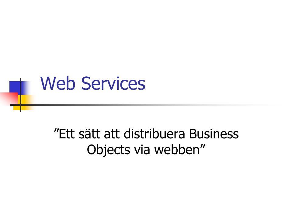 UDDI Universal Discovery, Description and Integration www.uddi.org Samlar alla offentliga Web Services på ett ställe Som att registrera webbsida på sökmotor