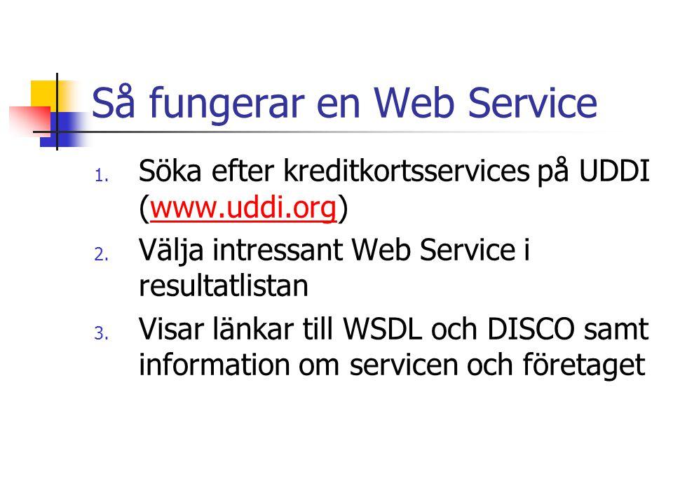 Så fungerar en Web Service 1. Söka efter kreditkortsservices på UDDI (www.uddi.org)www.uddi.org 2. Välja intressant Web Service i resultatlistan 3. Vi