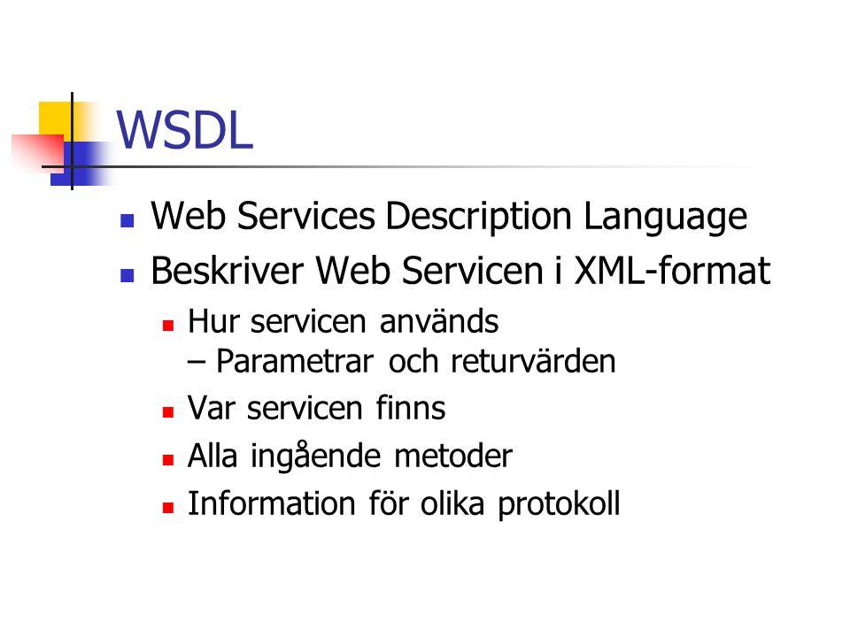 WSDL Web Services Description Language Beskriver Web Servicen i XML-format Hur servicen används – Parametrar och returvärden Var servicen finns Alla i