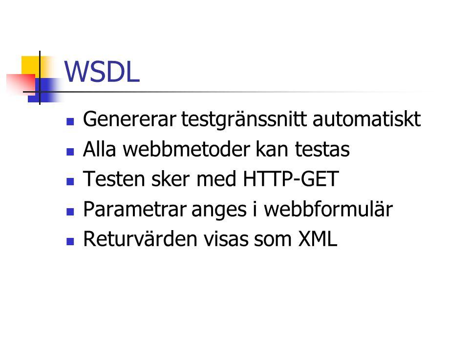 WSDL Genererar testgränssnitt automatiskt Alla webbmetoder kan testas Testen sker med HTTP-GET Parametrar anges i webbformulär Returvärden visas som X