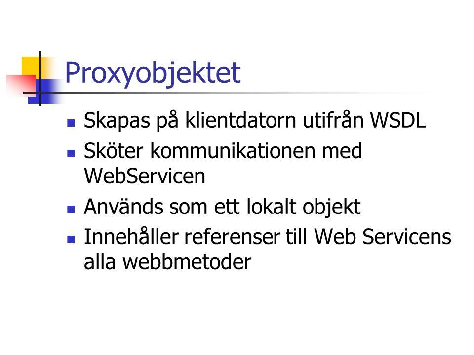Proxyobjektet Skapas på klientdatorn utifrån WSDL Sköter kommunikationen med WebServicen Används som ett lokalt objekt Innehåller referenser till Web
