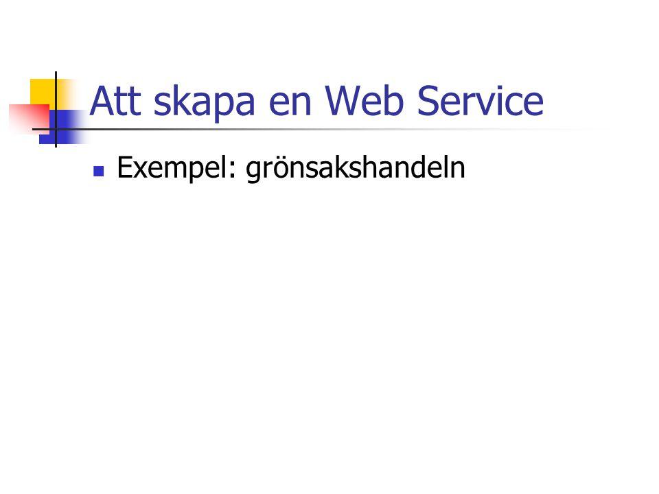 Att skapa en Web Service Exempel: grönsakshandeln