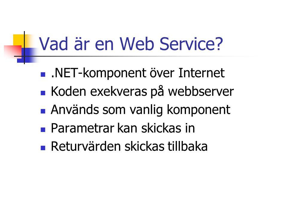 Fördelar med Web Services Enkel att implementera Nyttja tjänster från andra utvecklare En tjänst kan användas av olika användare i olika syften Plattformsoberoende Sprida arbetsbörda på olika servrar Kan användas genom brandväggar
