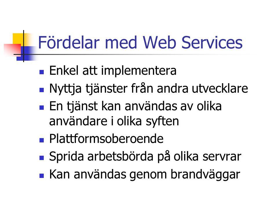 Fördelar med Web Services Enkel att implementera Nyttja tjänster från andra utvecklare En tjänst kan användas av olika användare i olika syften Plattf