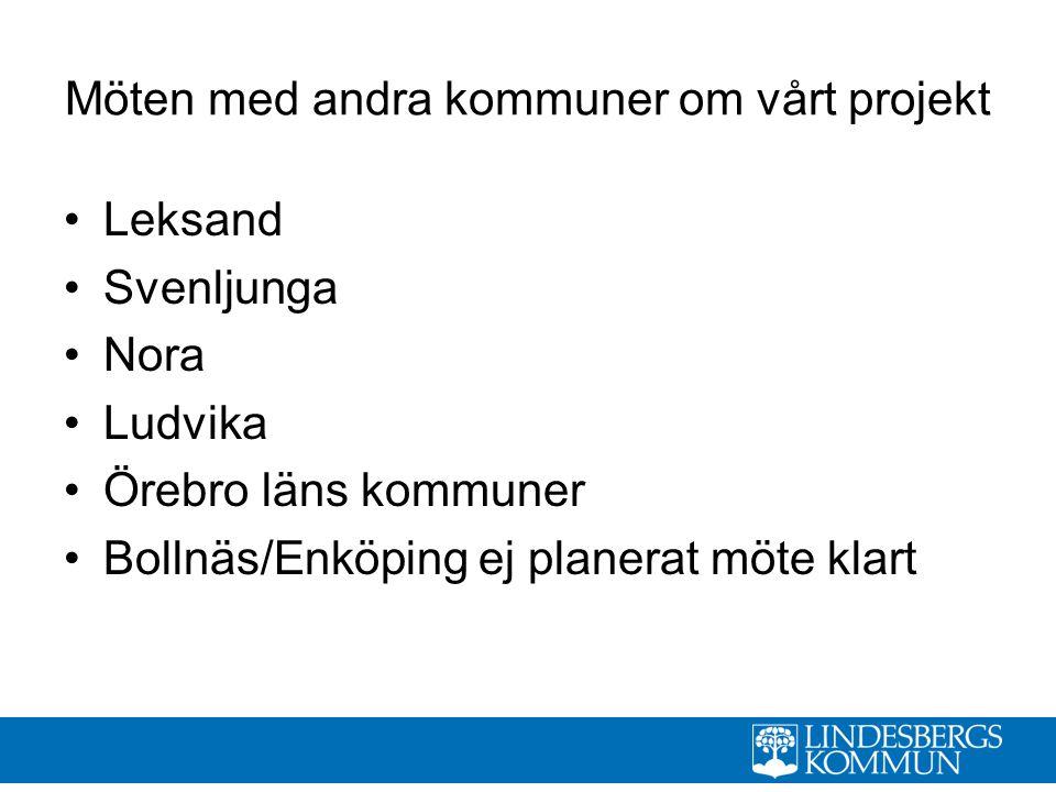Möten med andra kommuner om vårt projekt Leksand Svenljunga Nora Ludvika Örebro läns kommuner Bollnäs/Enköping ej planerat möte klart