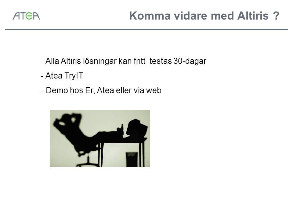 Komma vidare med Altiris ? - Alla Altiris lösningar kan fritt testas 30-dagar - Atea TryIT - Demo hos Er, Atea eller via web