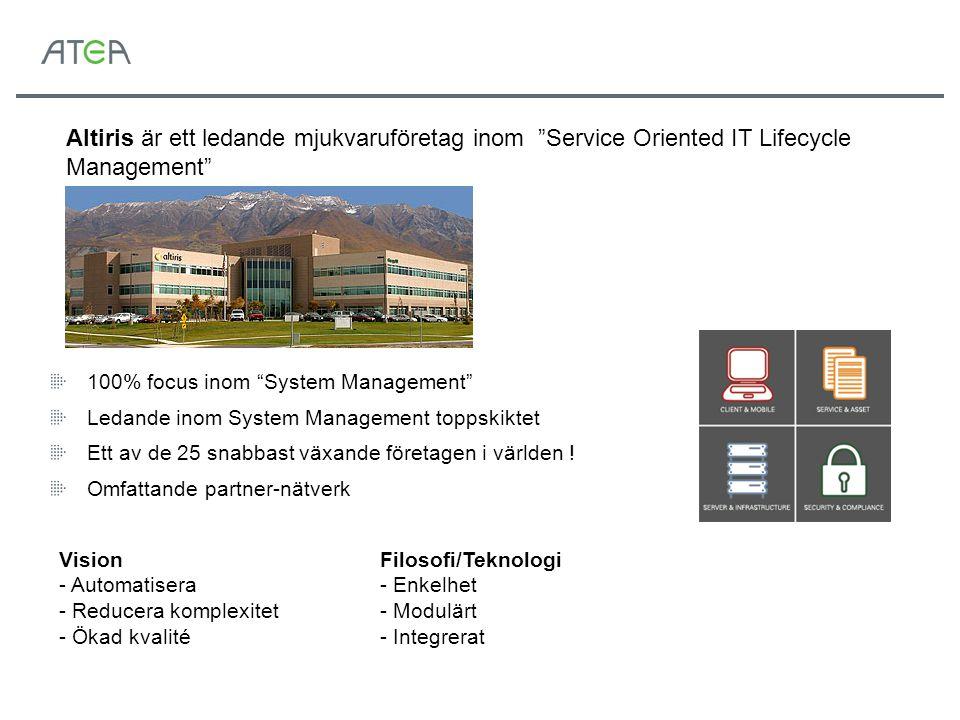 """Altiris är ett ledande mjukvaruföretag inom """"Service Oriented IT Lifecycle Management"""" 100% focus inom """"System Management"""" Ledande inom System Managem"""