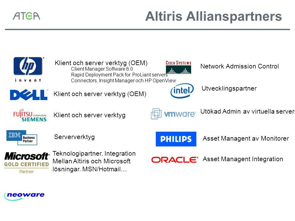 Network Admission Control Utvecklingspartner Utökad Admin av virtuella servers Asset Managent Integration Asset Managent av Monitorer Klient och server verktyg (OEM) Serververktyg Teknologipartner.