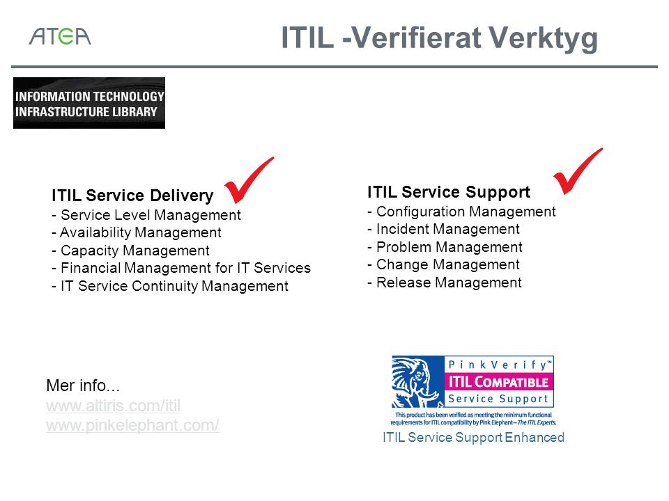 ITIL -Verifierat Verktyg ITIL Service Support - Configuration Management - Incident Management - Problem Management - Change Management - Release Management ITIL Service Delivery - Service Level Management - Availability Management - Capacity Management - Financial Management for IT Services - IT Service Continuity Management ITIL Service Support Enhanced Mer info...