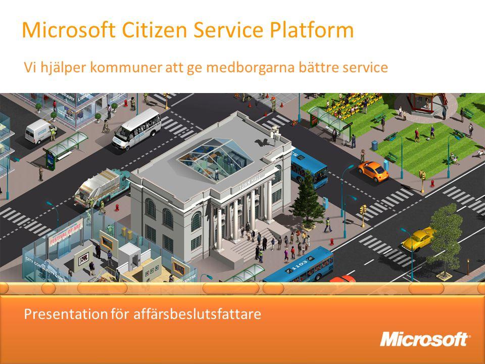 Microsoft Citizen Service Platform Vi hjälper kommuner att ge medborgarna bättre service Presentation för affärsbeslutsfattare