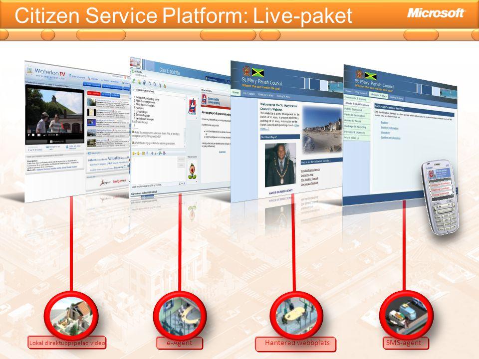 Citizen Service Platform: Live-paket Lokal direktuppspelad video e-Agent Hanterad webbplats SMS-agent
