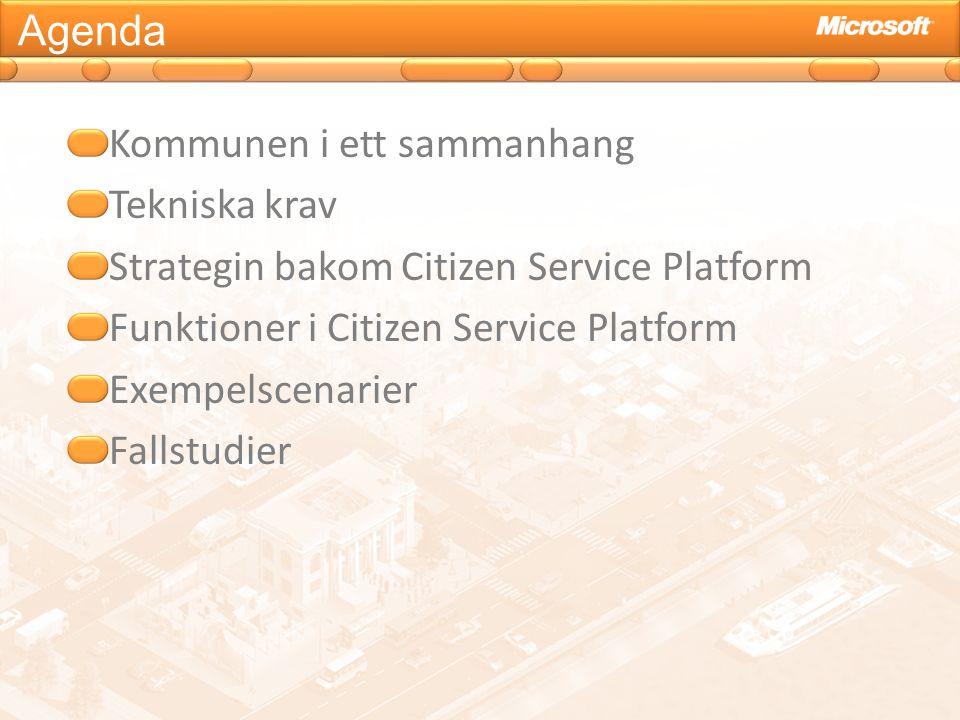 Agenda Kommunen i ett sammanhang Tekniska krav Strategin bakom Citizen Service Platform Funktioner i Citizen Service Platform Exempelscenarier Fallstu
