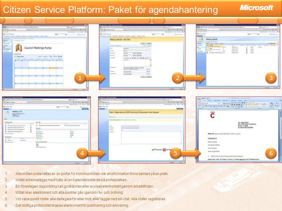 Citizen Service Platform: Paket för agendahantering 1.Alla möten underlättas av en portal för kommunmöten där all information finns samlad på en plats