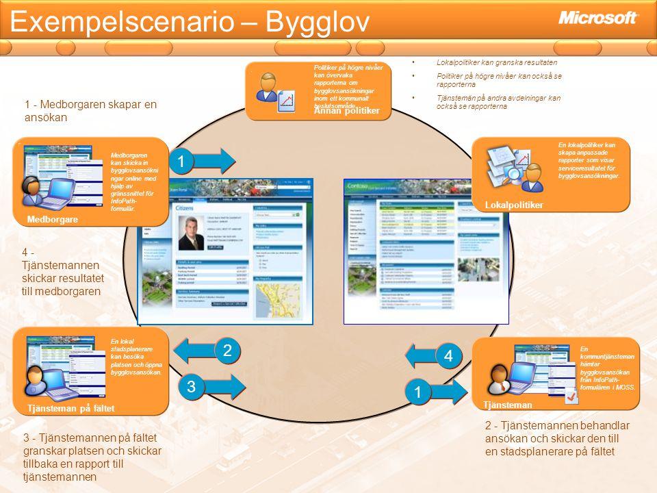 Exempelscenario – Bygglov Lokalpolitiker En lokalpolitiker kan skapa anpassade rapporter som visar serviceresultatet för bygglovsansökningar. En kommu
