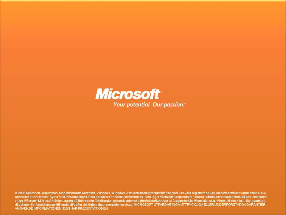 © 2008 Microsoft Corporation. Med ensamrätt. Microsoft, Windows, Windows Vista och andra produktnamn är eller kan vara registrerade varumärken och/ell