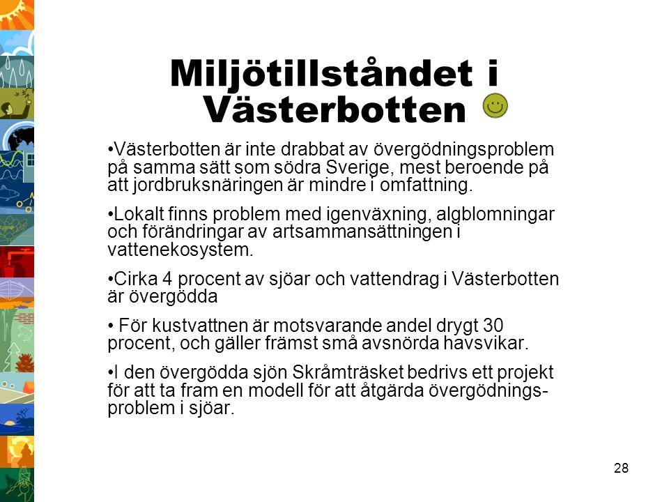 28 Miljötillståndet i Västerbotten Västerbotten är inte drabbat av övergödningsproblem på samma sätt som södra Sverige, mest beroende på att jordbruksnäringen är mindre i omfattning.