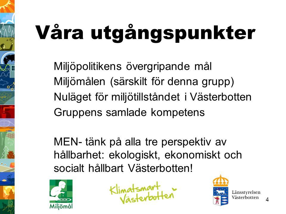 4 Våra utgångspunkter Miljöpolitikens övergripande mål Miljömålen (särskilt för denna grupp) Nuläget för miljötillståndet i Västerbotten Gruppens samlade kompetens MEN- tänk på alla tre perspektiv av hållbarhet: ekologiskt, ekonomiskt och socialt hållbart Västerbotten!