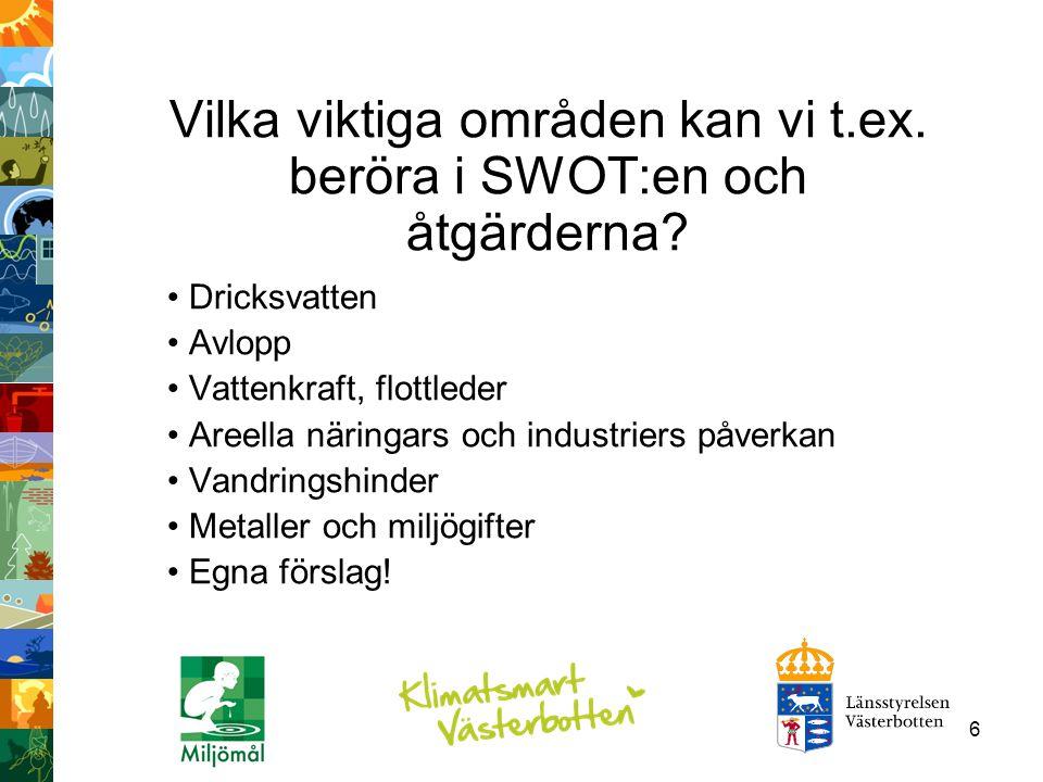 37 Indikatorer Grustäkter i vattenskyddsområden i Västerbotten, utvecklingstrend Skyddsläget 2010 för de vattentäkter i Västerbotten som betjänar fler än 50 personer och/eller med uttag av mer än 10m3/dygn Vägsaltanvändning i Västerbotten Certifierade brunnsborrare i Västerbotten