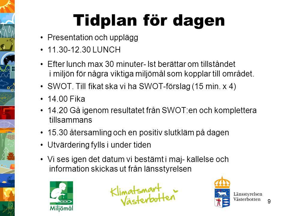 9 Tidplan för dagen Presentation och upplägg 11.30-12.30 LUNCH Efter lunch max 30 minuter- lst berättar om tillståndet i miljön för några viktiga milj