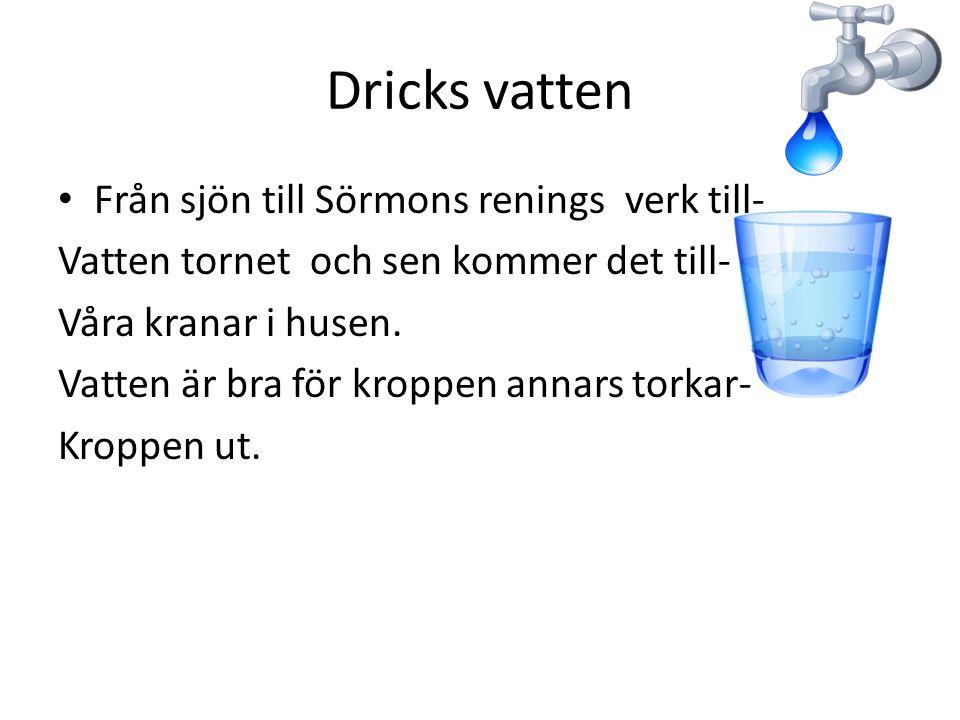 Dricks vatten Från sjön till Sörmons renings verk till- Vatten tornet och sen kommer det till- Våra kranar i husen. Vatten är bra för kroppen annars t