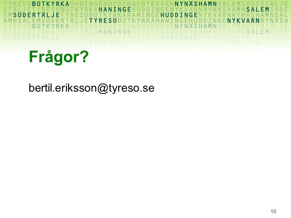 10 Frågor? bertil.eriksson@tyreso.se
