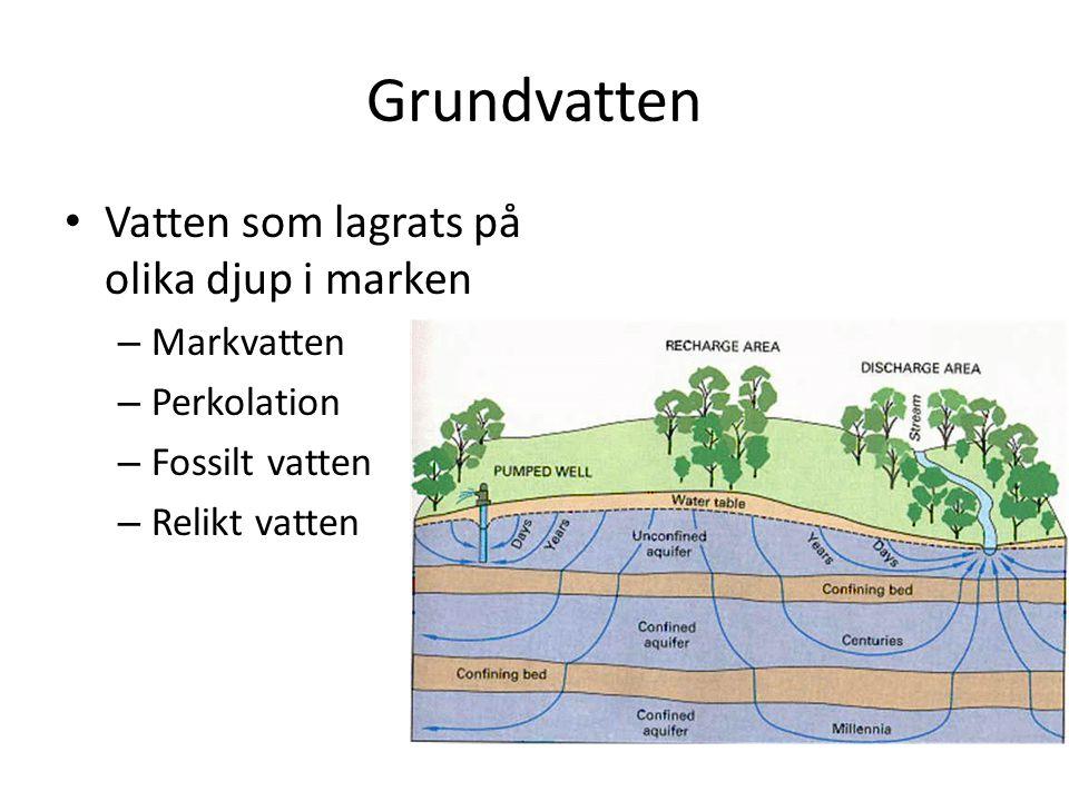 Grundvatten Vatten som lagrats på olika djup i marken – Markvatten – Perkolation – Fossilt vatten – Relikt vatten