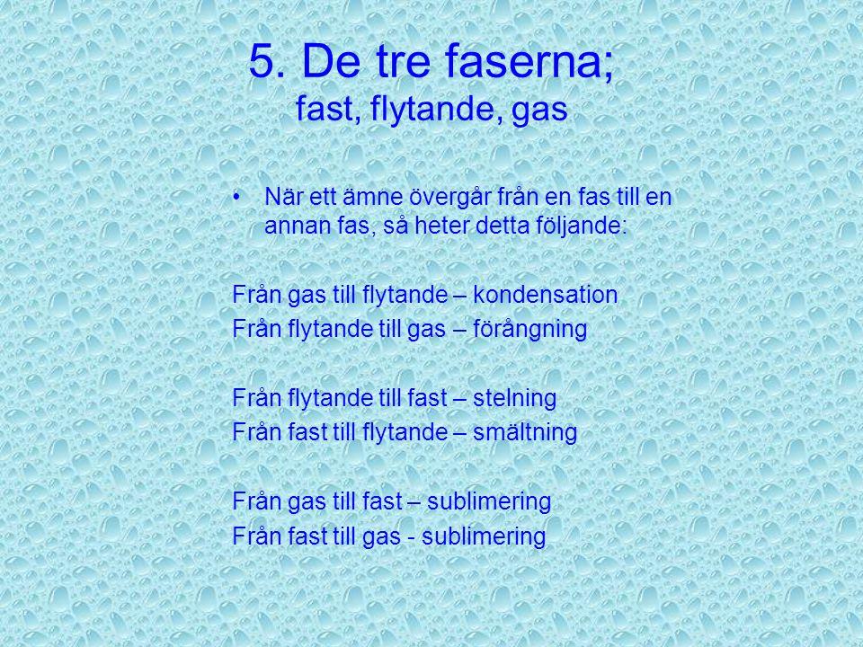 5. De tre faserna; fast, flytande, gas Fast fas: molekylerna är ordnade i raka led Flytande fas: molekylerna rör sig Gas-fas: molekylerna rör sig så m