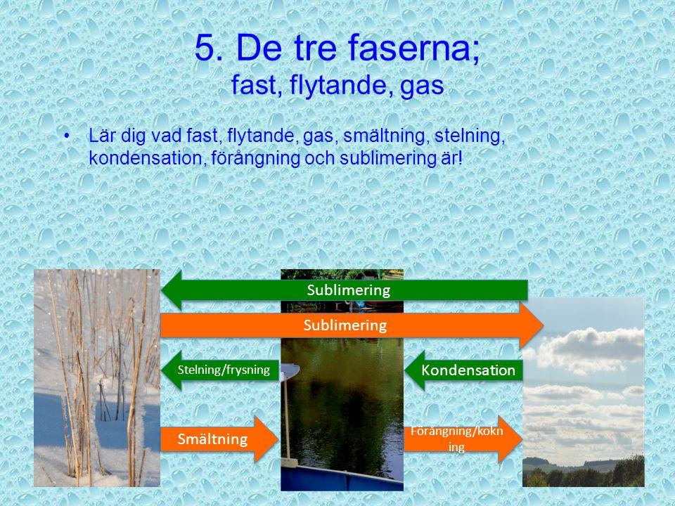 5. De tre faserna; fast, flytande, gas När ett ämne övergår från en fas till en annan fas, så heter detta följande: Från gas till flytande – kondensat