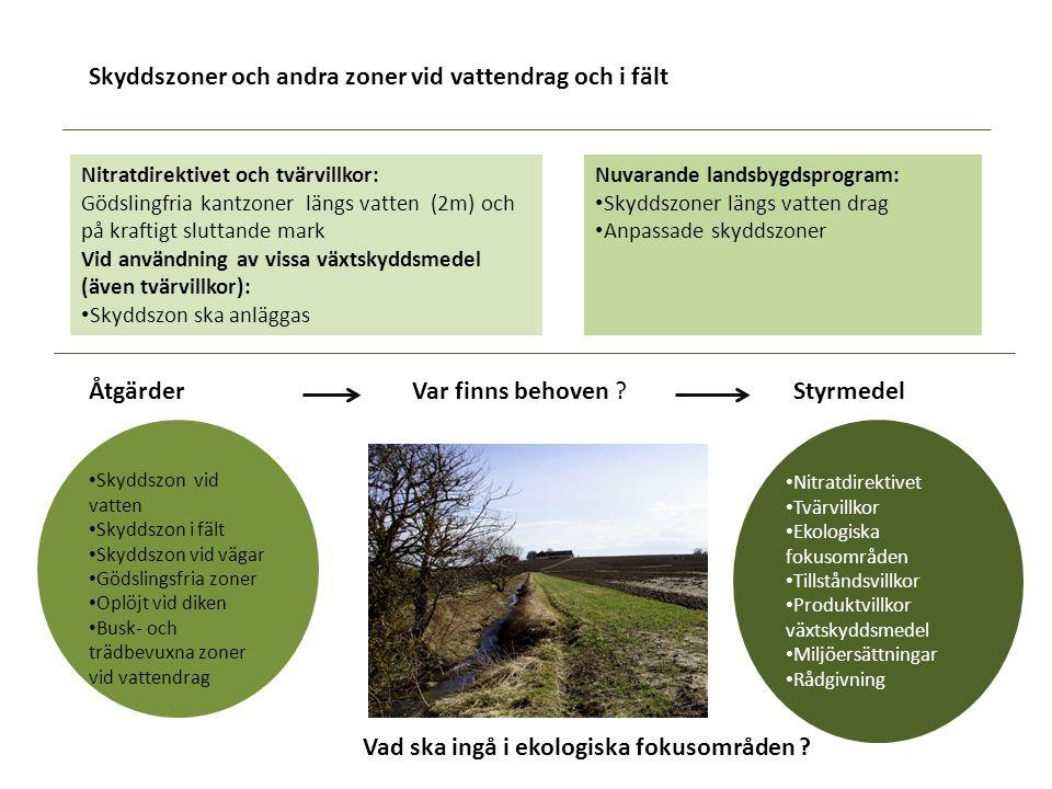 Skyddszoner och andra zoner vid vattendrag och i fält Nuvarande landsbygdsprogram: Skyddszoner längs vatten drag Anpassade skyddszoner Nitratdirektive